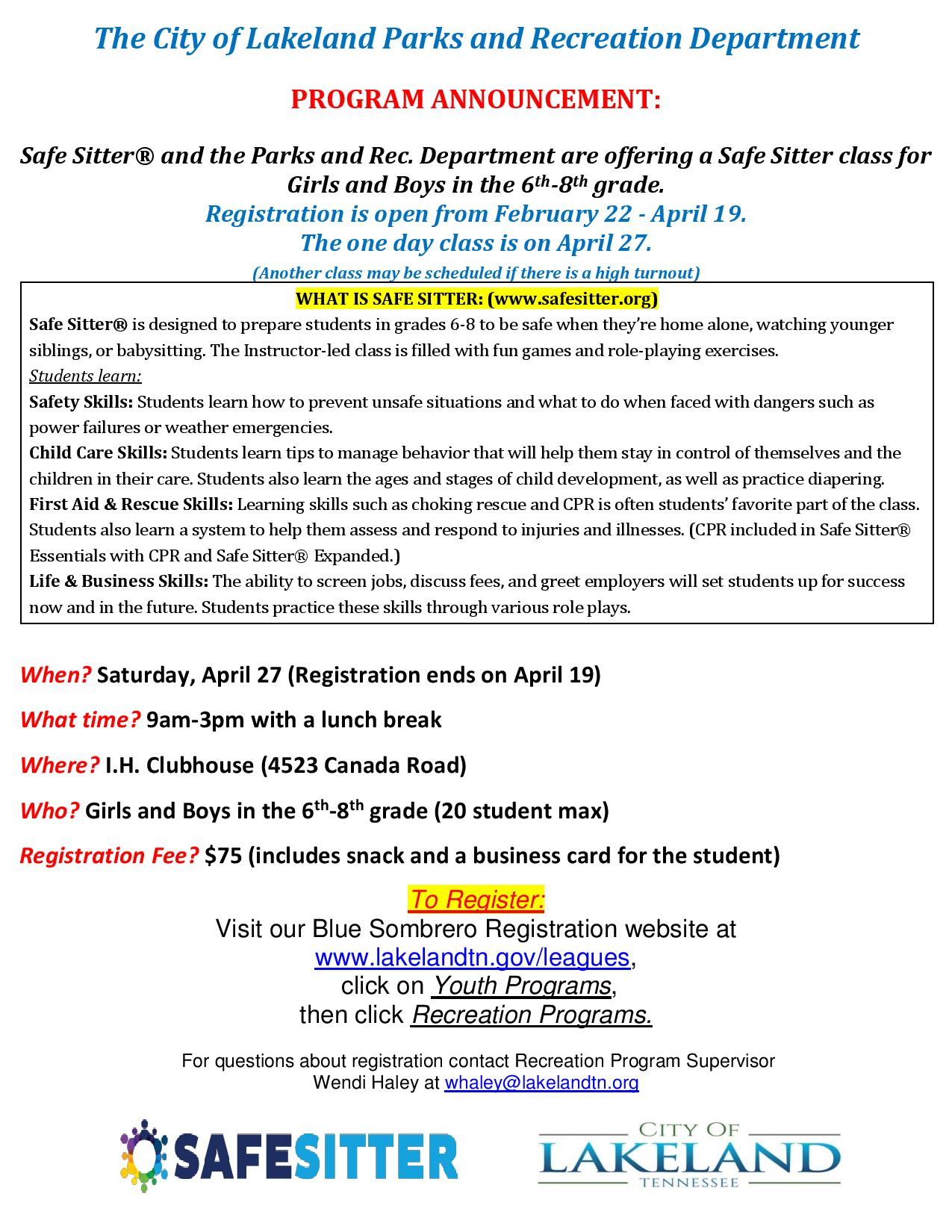 b1f5e0b9d1 Safe Sitter class  9 a.m.-3 p.m. April 27 at I.H. Clubhouse