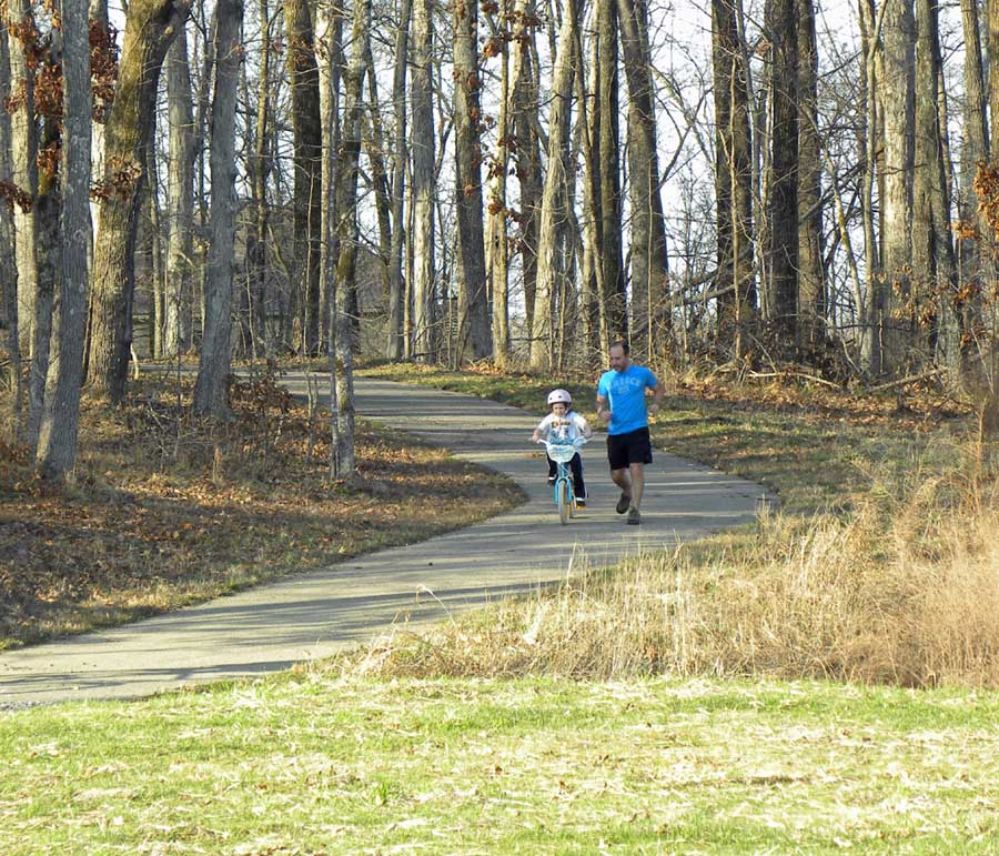 People walking a trail
