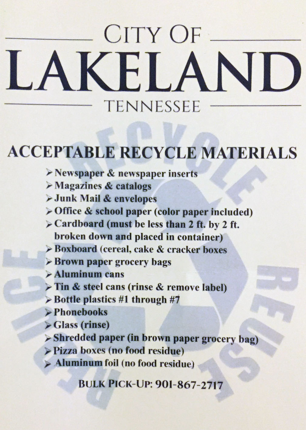 Lakeland, TN - Official Website - Household Trash, Recycling, and